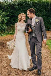Wedding Photography at Athelhampton House in Dorchester - featuring Dusty the miniature dachshund